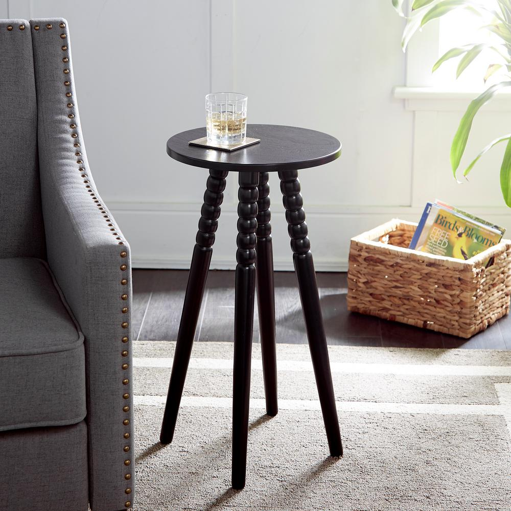 silverwood benjamin black round accent table with spindle legs coffee tables wood patio three piece marble look dining replacement glass for umbrella hole antiques roadshow dale