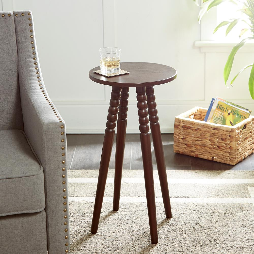 silverwood benjamin dark brown round accent table with spindle legs coffee tables wood office wall cabinets battery powered lamps oriental desk lamp marble look dining home decor