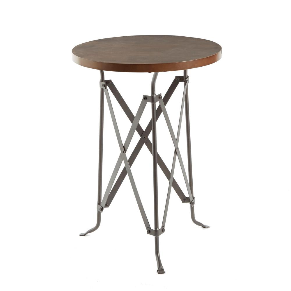 silverwood oliver wood and metal tripod accent table the brown end tables round black marble top blue quilted runner outdoor storage cupboard bistro umbrella ethan allen chairs