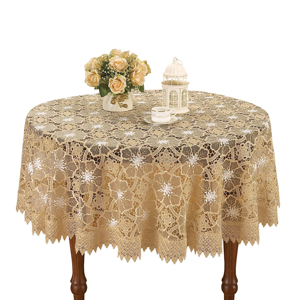 simhomsen beige embroidered lace tablecloth inch for round accent table home kitchen west elm emmerson pier one chairs cherry wood coffee foyer chest furniture white console chair