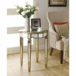 simple living room with mirrored inch dia scalloped accent table light maple hardwood flooring beige velvet chairs striped decorative pillows gold originalviews ikea small kitchen 150x150