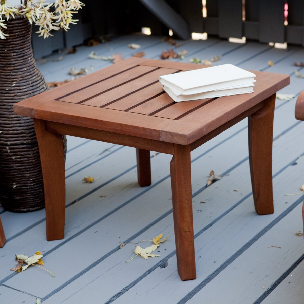 simple outdoor decor with patio side tables and solid wood table material tapered legs varnished natural wooden look garden accent originalviews living room suite astoria