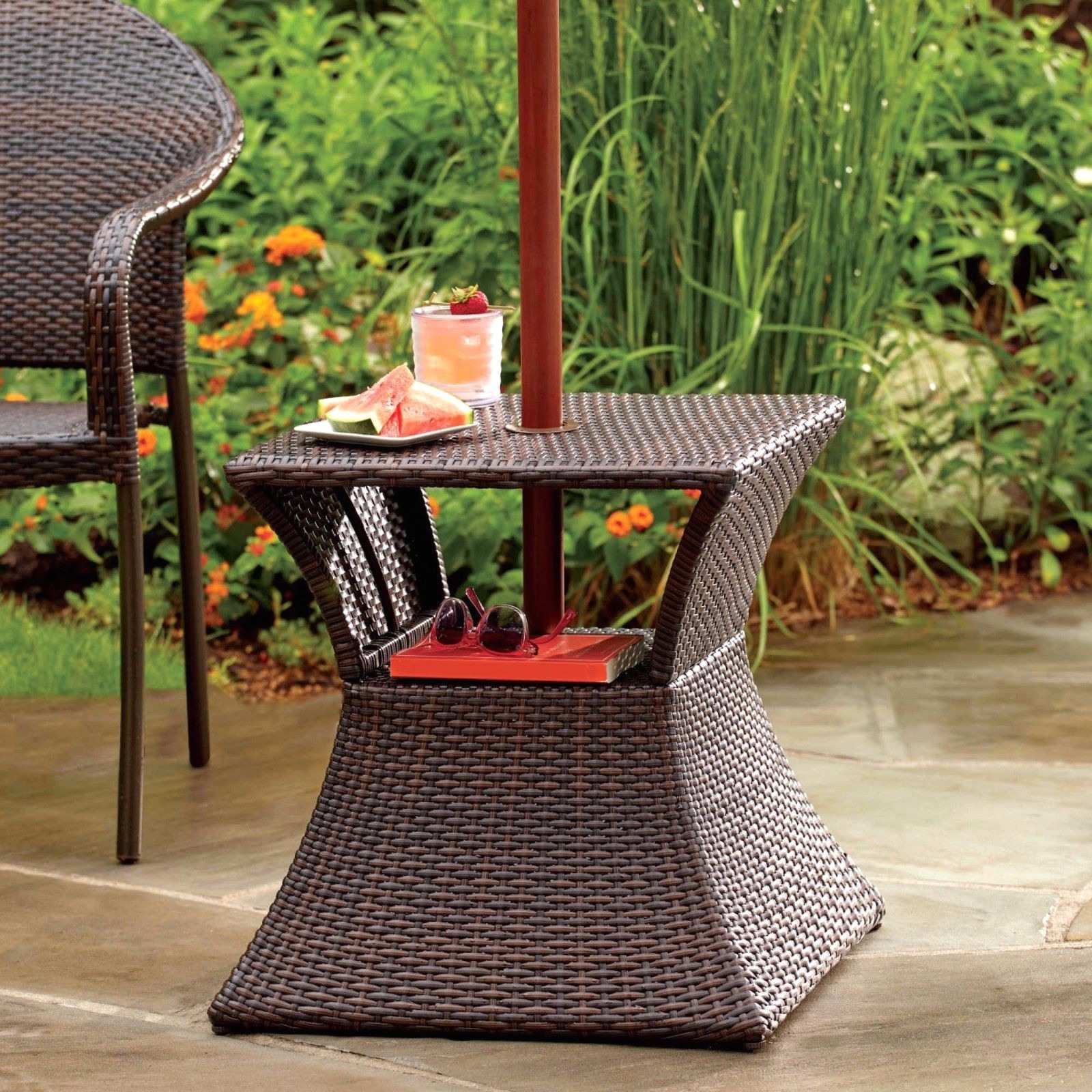simple patio umbrella stand side table stunning with accent end base wicker outdoor floating maple furniture pieces marble top childrens and chairs kmart drawer for small spaces