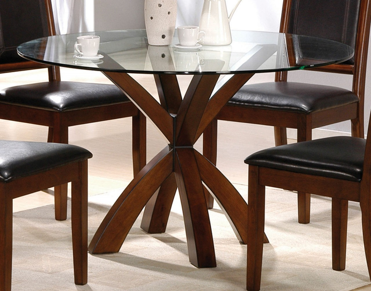 simple round glass top dining tables with wood base and chairs black leather seats ideas accent table doors patio furniture toronto clearance small side for living room pier one