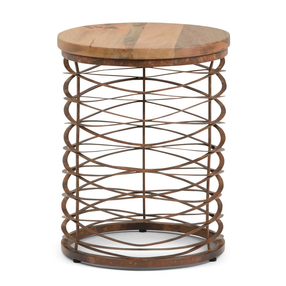 simpli home miley natural and distressed bronze metal wood accent end tables axcmtbl table dark gray drawer side mosaic garden bench homesense bar stools pottery barn glass
