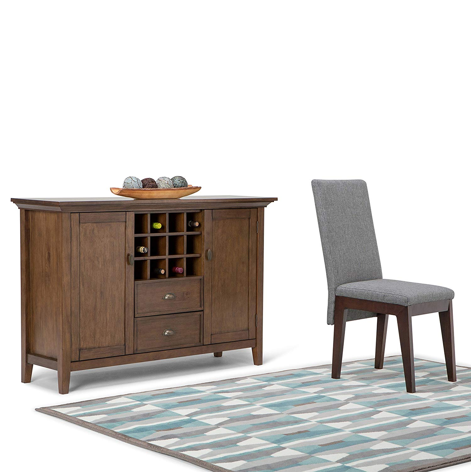 simpli home redmond solid wood sideboard avenue six piece chair and accent table set buffet credenza winerack rustic natural aged brown kitchen dining unfinished furniture the