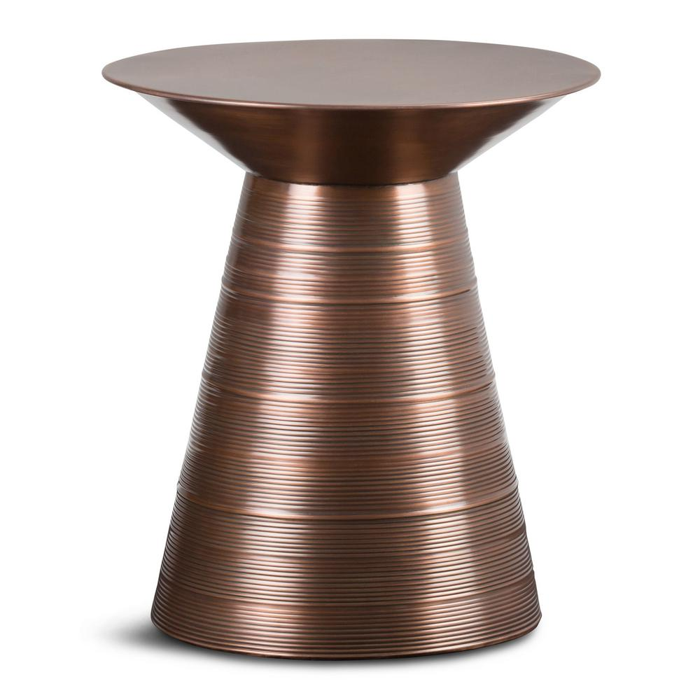 simpli home sheridan aged copper metal accent table axcmtbl the end tables sears outdoor furniture coffee and lamp wooden tray acrylic antique looking mosaic tile inch square