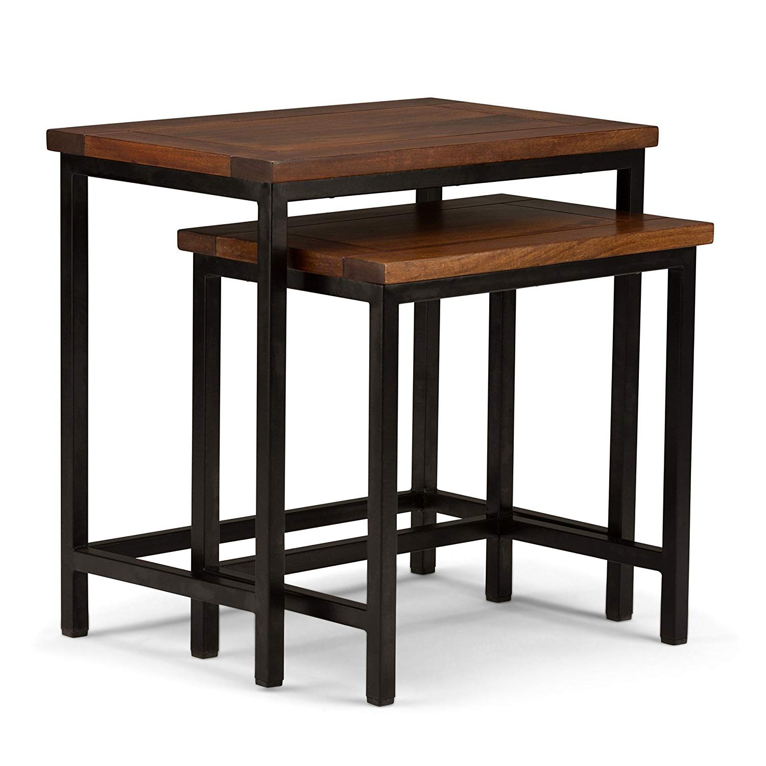 simpli home skyler solid mango wood and metal accent table modern industrial nesting side dark cognac brown kitchen dining olive green oblong tablecloth all glass iron chairs