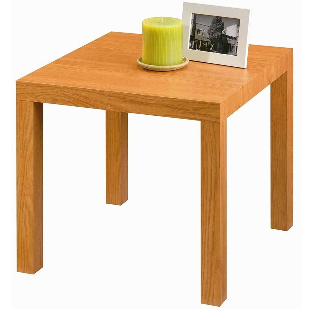 simplistic end table sofa side accent piece square mini furniture wood grain finish coffee decorative design classic small living clear chair polka dot tablecloth narrow oak house