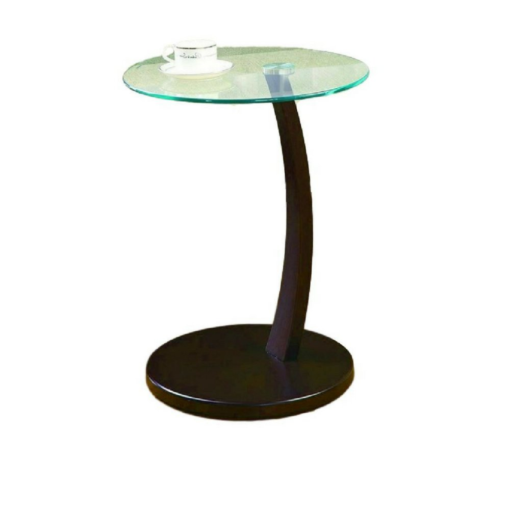 simplistic end table sofa side glass top wood base xlcl contemporary round accent piece furniture coffee decorative design small living room oak corner slim white console copper