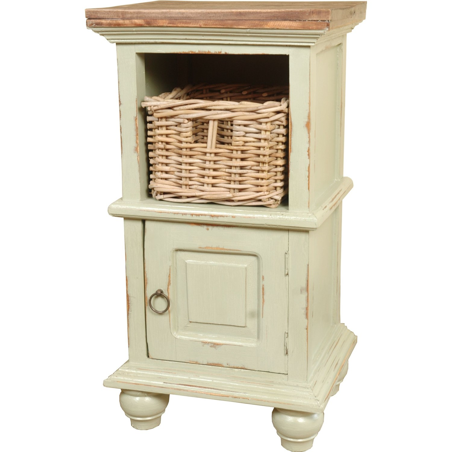 simply casual cottage end table with basket crme accent baskets square legs narrow console ikea lucite coffee nautical outdoor lighting sconces ashley signature wooden shelving