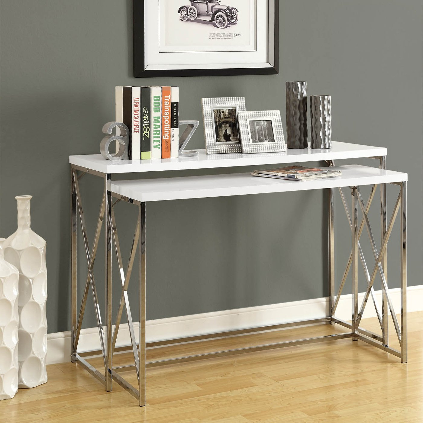 skinny side table appears save the space without lacking style modern idea with white top and stainless steel beam wooden floor beneath gray painted wall ceramic accent vitra