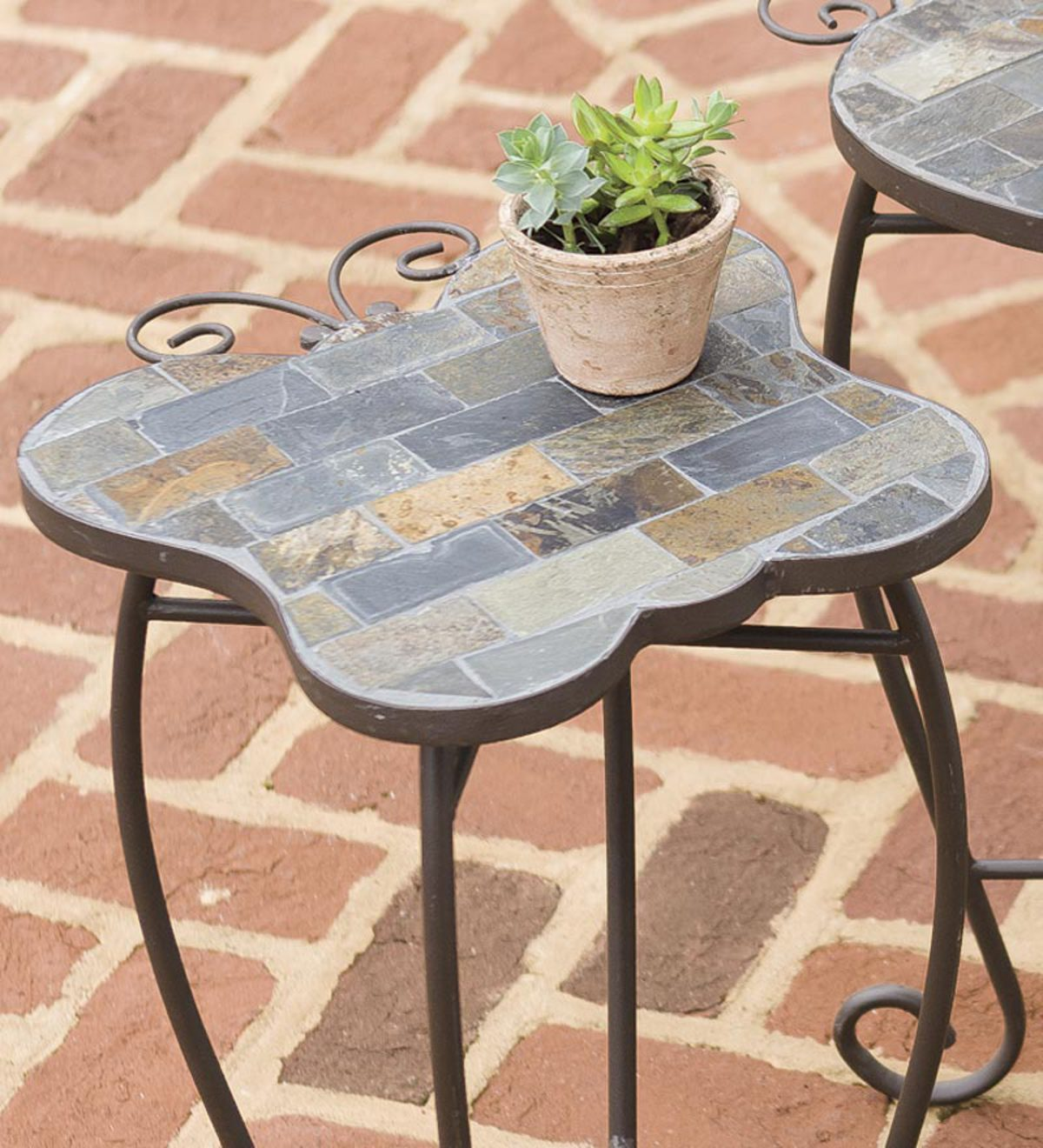 slate butterfly ladybug and turtle outdoor accent tables with iron base corner table for dining room patio set covers metal end home goods website west elm bistro yuma furniture