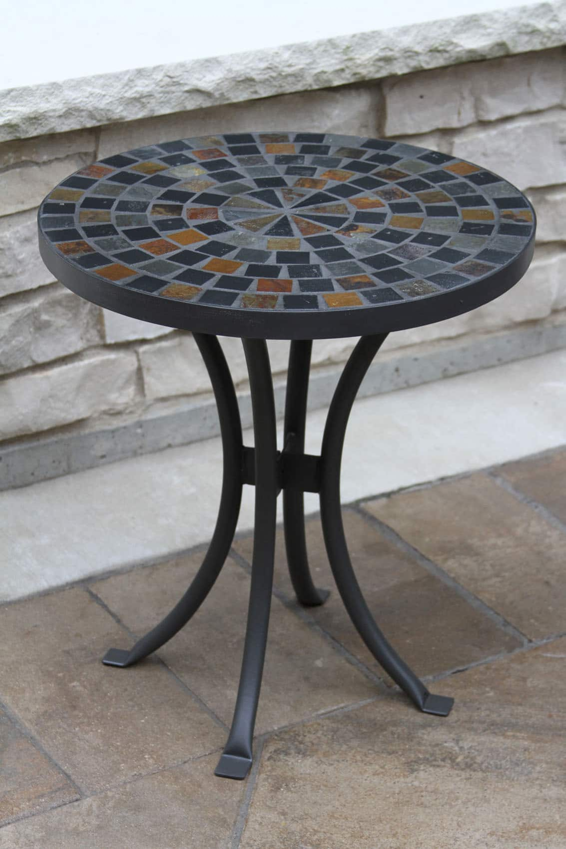 slate mosaic accent table for decks patios and gardens cobble stone outdoor chestnut side with storage baskets floor lamp set reclaimed wood coffee dale home crystal antique brass