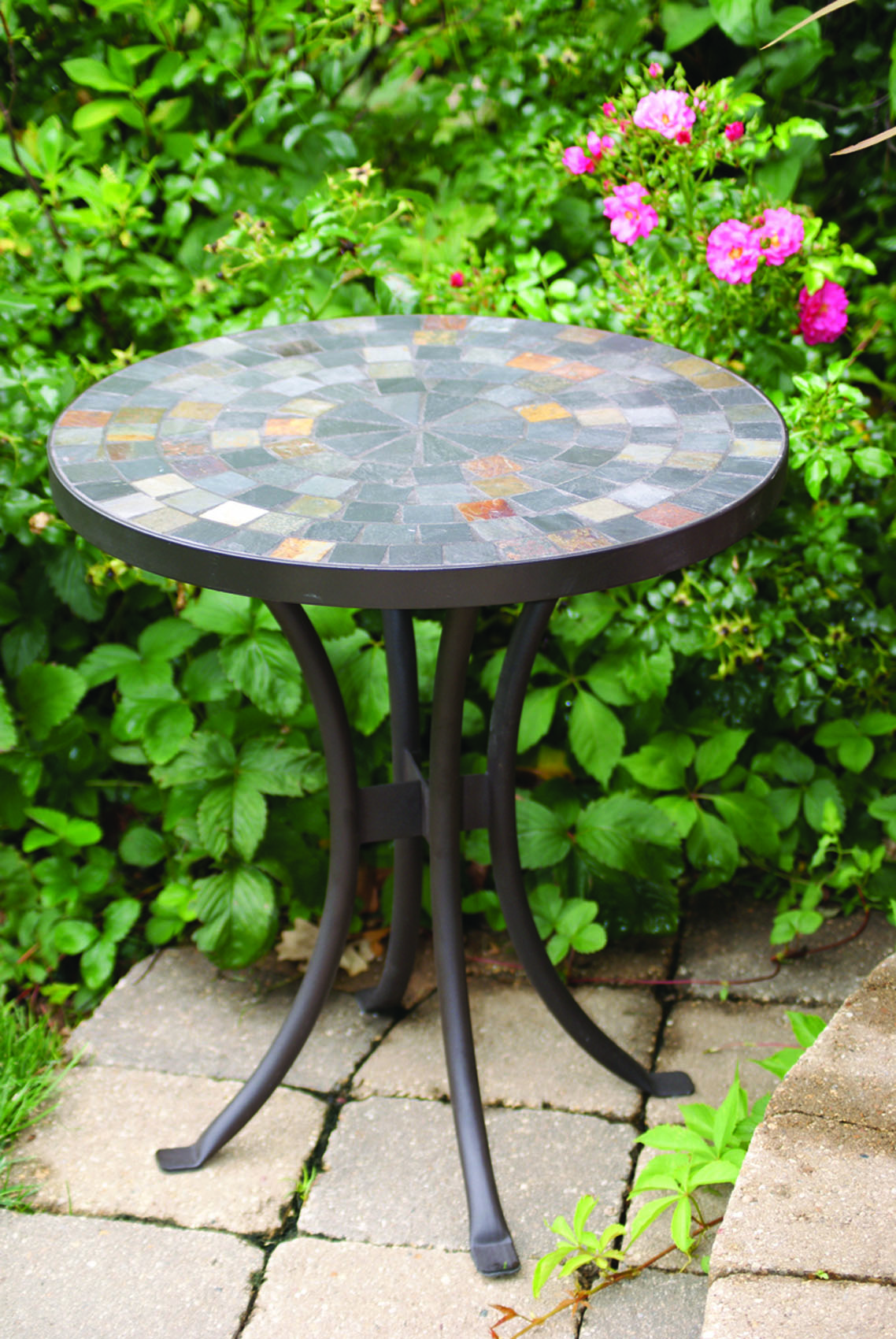 slate mosaic accent table for decks patios and gardens cobble stone outdoor modern furniture lighting decorative trunks gray metal coffee folding glass wrought iron bistro set