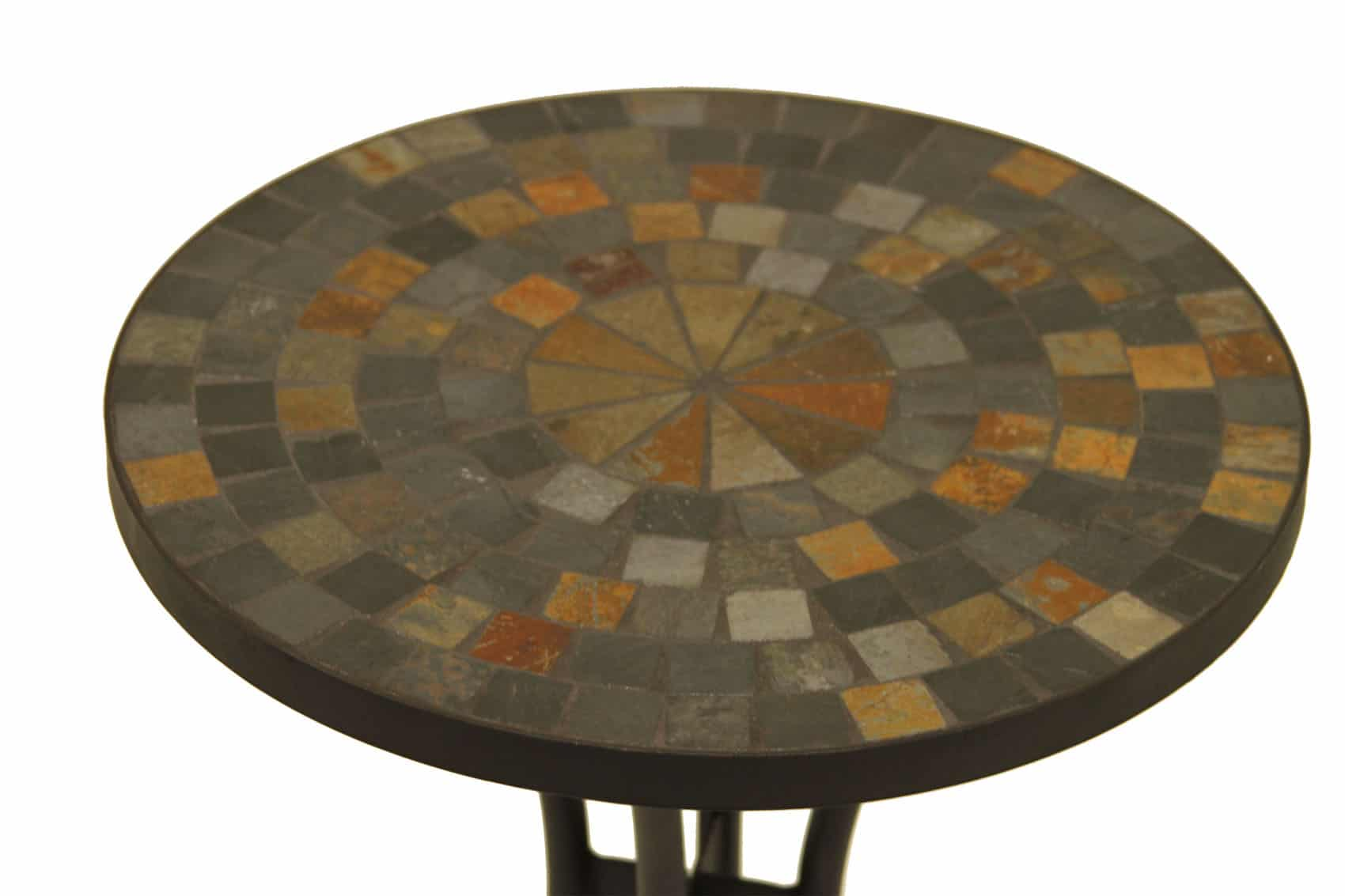 slate mosaic accent table for decks patios and gardens cobble stone top only outdoor wrought iron bistro set metal folding butler furniture tables screw sofa legs floor lamp