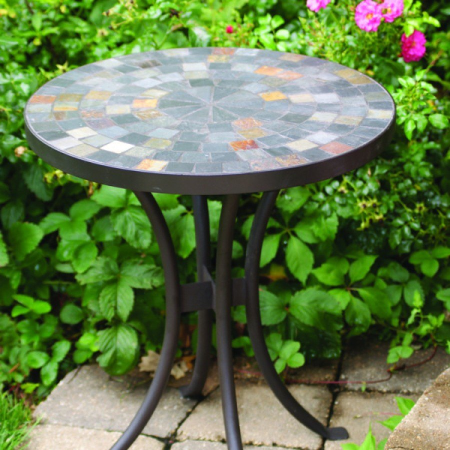 slate mosaic accent table metal roundtable outdoor footstool coffee contemporary end lamps garden storage solutions kitchen mats bench with cushion ikea clear and gold vintage mid