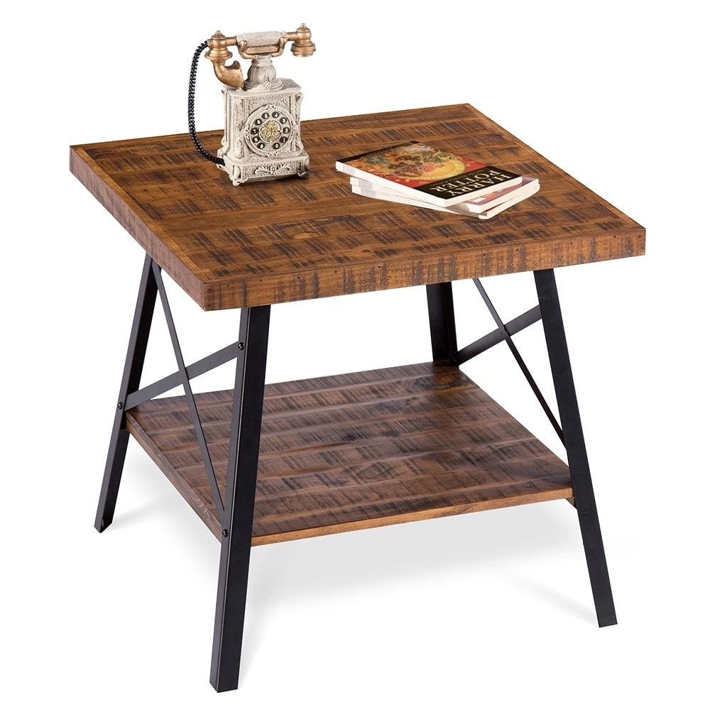 sleeplanner rustic end table steel legsnatural wood top legs natural brown room essentials trestle accent folding patio side threshold owings wrought iron outdoor dining coastal