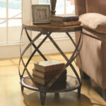small accent table furniture chicago round rustic metal wood end french country kitchen desktop fridge stain with chairs distressed coffee nesting tables target etsy portable nic 150x150