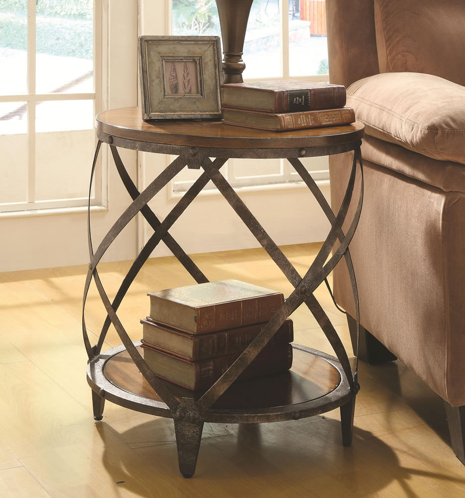 small accent table furniture chicago round rustic metal wood end french country kitchen desktop fridge stain with chairs distressed coffee nesting tables target etsy portable nic
