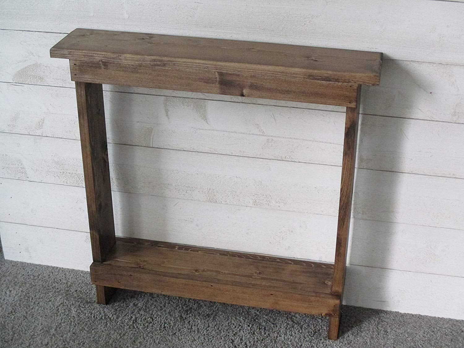 small accent table skinny side narrow end entryway nightstand wood rustic walnut stain christmas holiday piece marble set ornaments two nesting tables large grey clock pottery