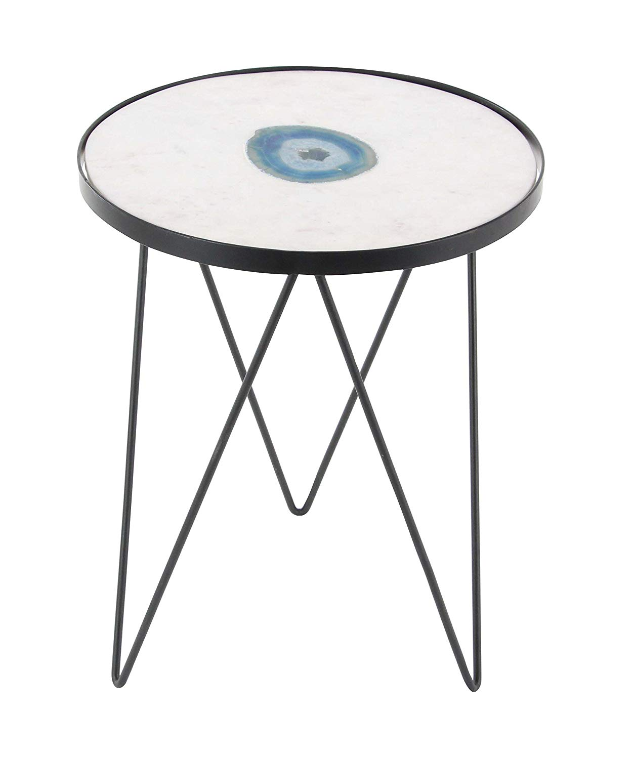 small black accent table find blue get quotations deco metal and marble agat grey linen tablecloth white counter height dining set mid century modern chairs reproductions corner