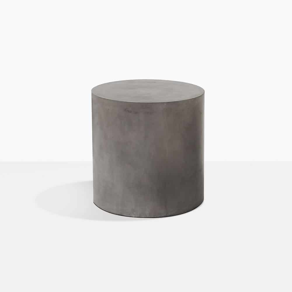 small blok concrete round side table outdoor furniture teak aluminum accent cushions grill utensils tiffany lamp pink bedside lamps wireless desk high end for living room solid