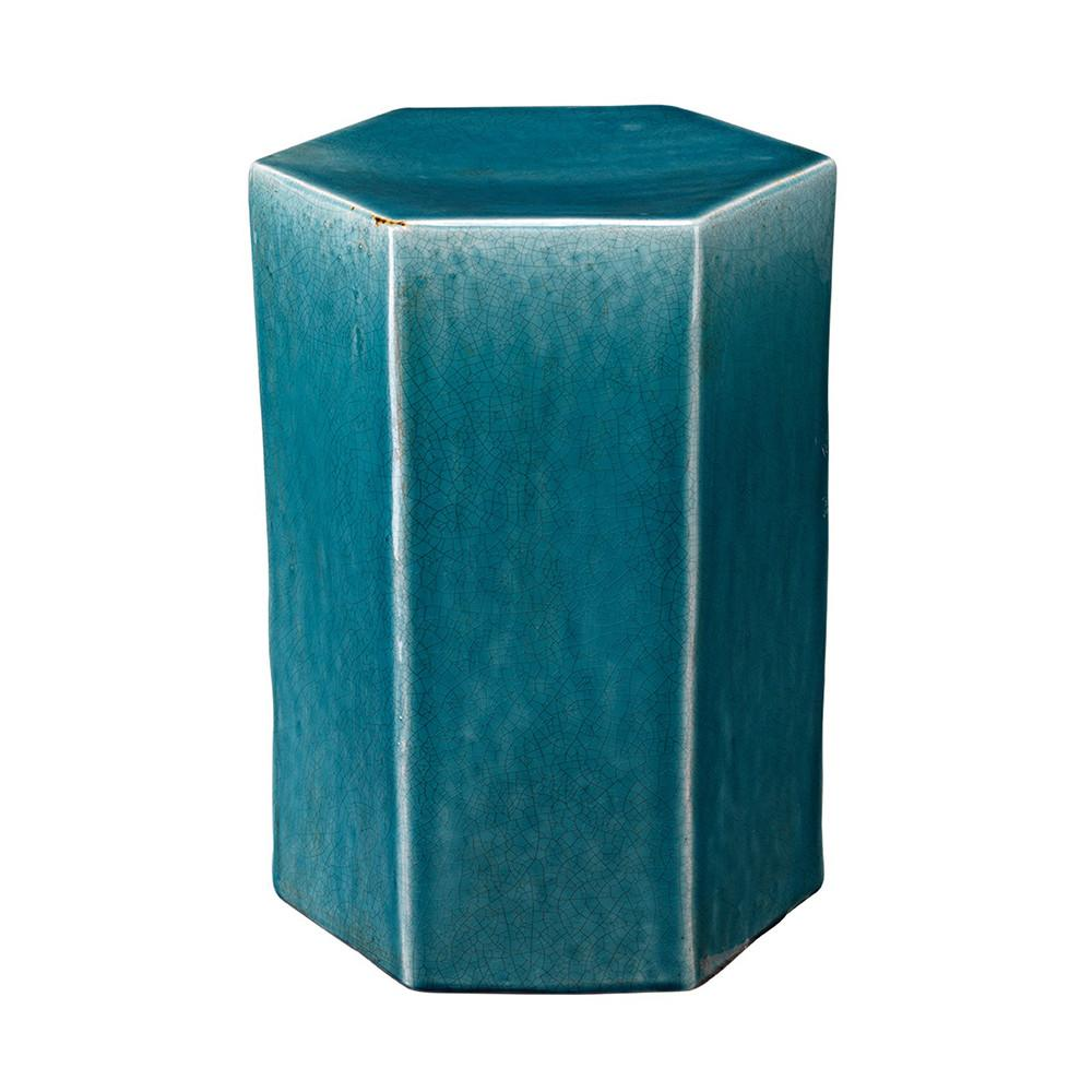 small ceramic hexagonal accent table blue blueceramic outdoor cocktail with umbrella hole all weather wicker ashley furniture sofas pulaski display cabinet wooden frog instrument