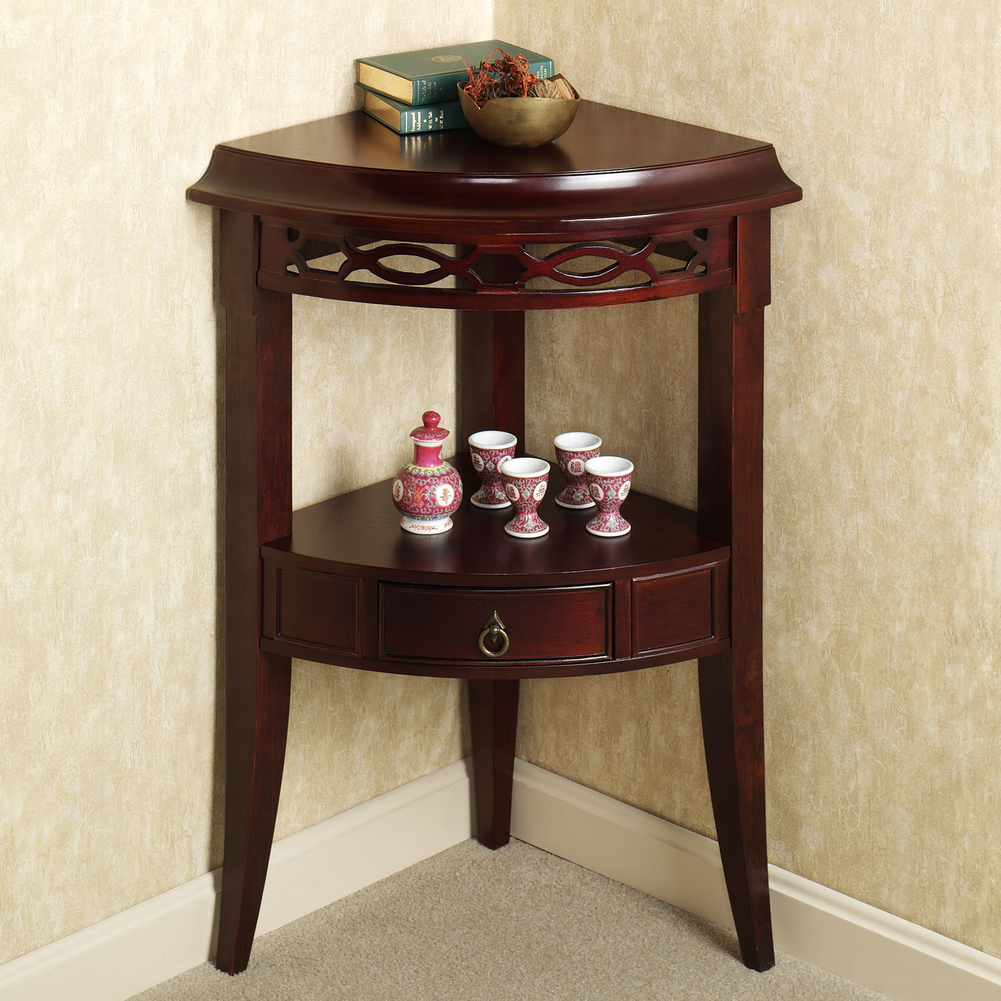 small corner accent table with drawer aruza drawers kitchen furniture ikea cube storage target dishes mirrored coffee style dining bath and beyond salt lamp light attached kohls