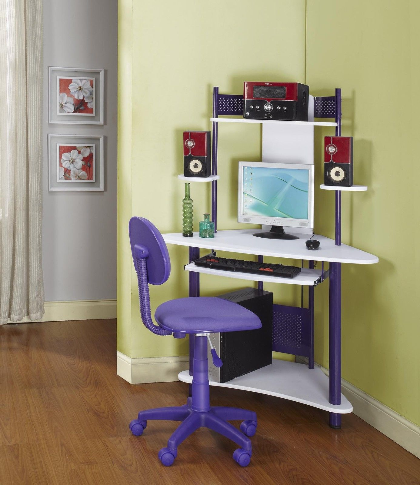 small corner desk ikea favorite private for workspace mini and colorful with under sliding panel keyboard cpu monitor set sweet purple chair wheels wood finish flooring accent