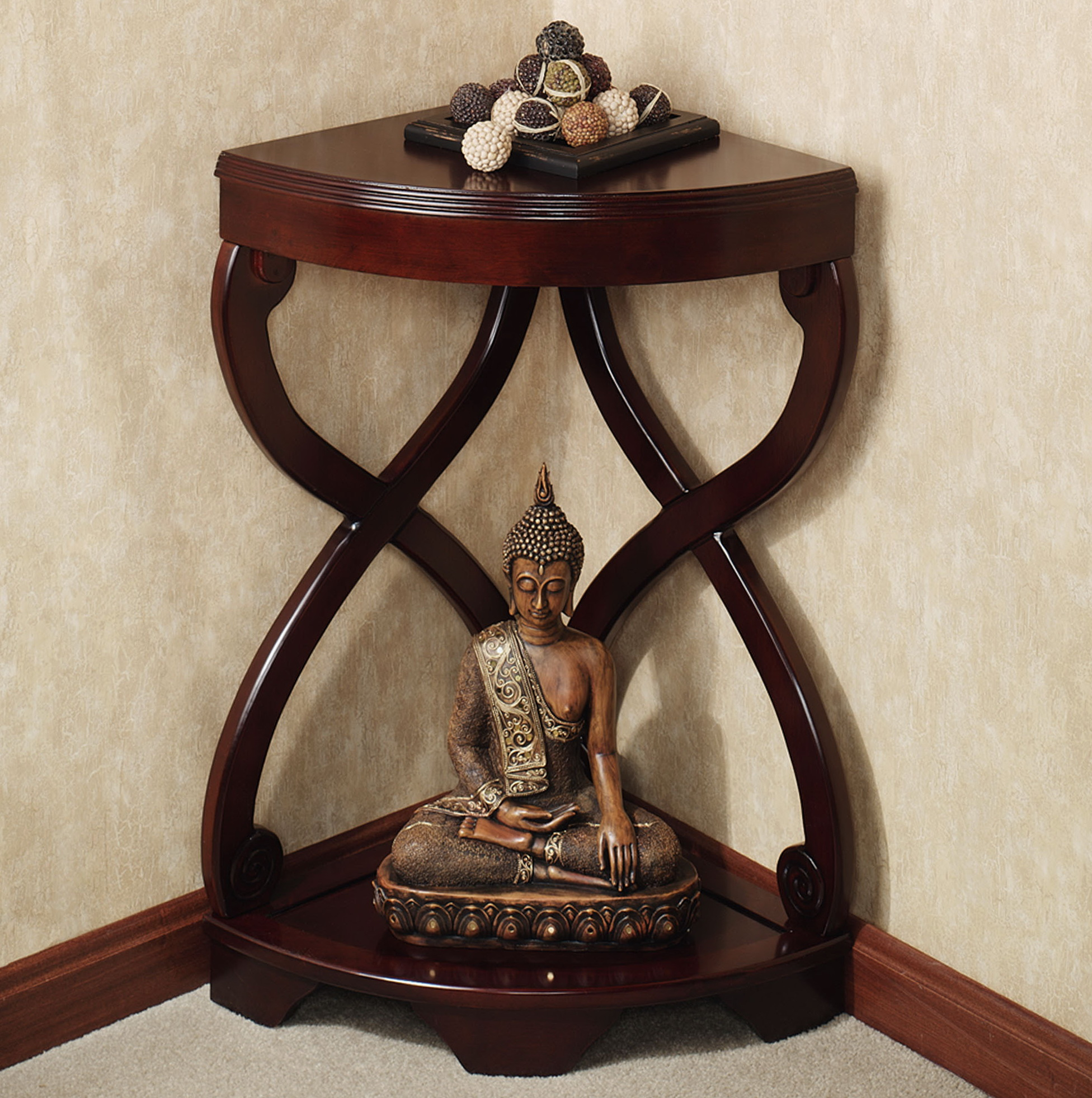 small corner table with shelves designs decor theme cross frames wooden varnishing top shelf base open single buddha statue colorful ball ornament black storage accent home
