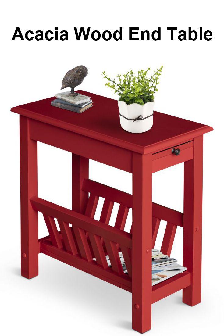 small end table chair side narrow accent colonial farmhouse storage red bring sense style and functionality your home with this homcom acacia made from natural wood traditionally