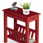 small end table chair side narrow accent colonial farmhouse storage with drawer bring sense style and functionality your home this homcom acacia made from natural wood 150x150