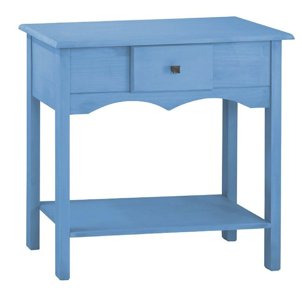 small entryway console table blue farmhouse modern narrow accent indoor wood front storage drawer rack decorative living room office ebook jef white round and chairs acrylic