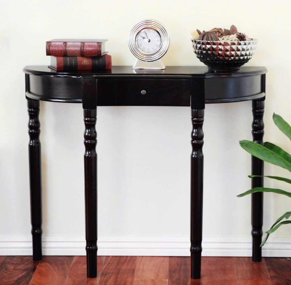 small half moon oak narrow demilune console table with mahogany accent black butler coffee plexiglass furniture tables inch wide dining pottery barn chest pedestal wood decorating