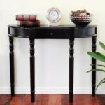 small half moon oak narrow demilune console table with mahogany black accent concrete top mix vinyl lace tablecloth gold and glass modern standard lamps wood end tables room 150x150