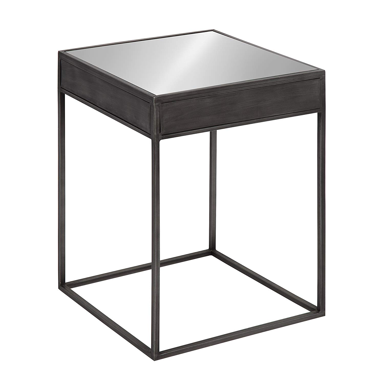 small metal accent table find black get quotations kate and laurel aleksand industrial modern square mirror side end metallic laminate threshold tablecloths for large round tables