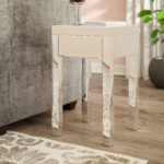 small mirrored accent table keels end with storage round drawer pottery barn pedestal marble chairs wide mirror battery powered desk lamp designer garden furniture home goods and 150x150