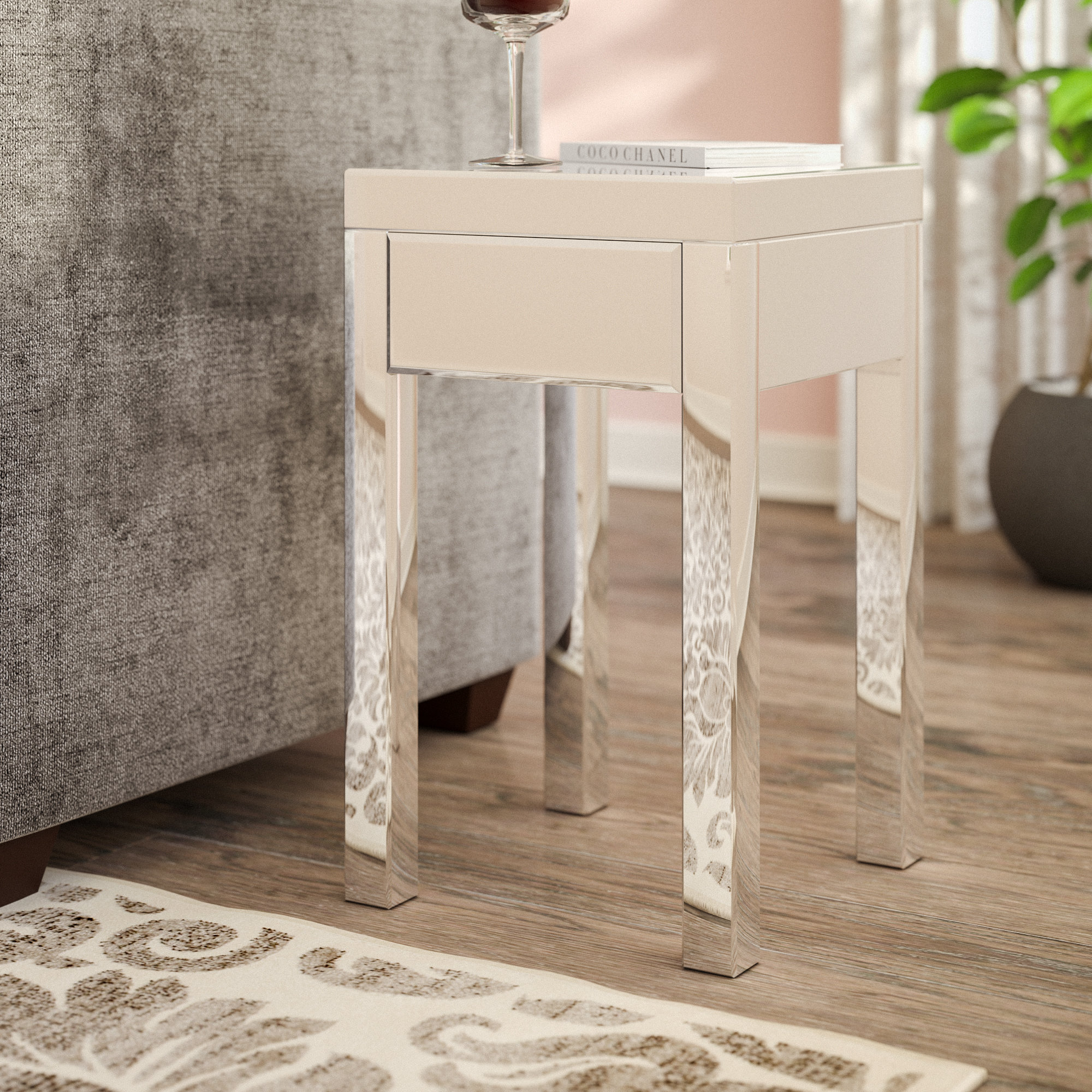 small mirrored accent table keels end with storage round drawer pottery barn pedestal marble chairs wide mirror battery powered desk lamp designer garden furniture home goods and