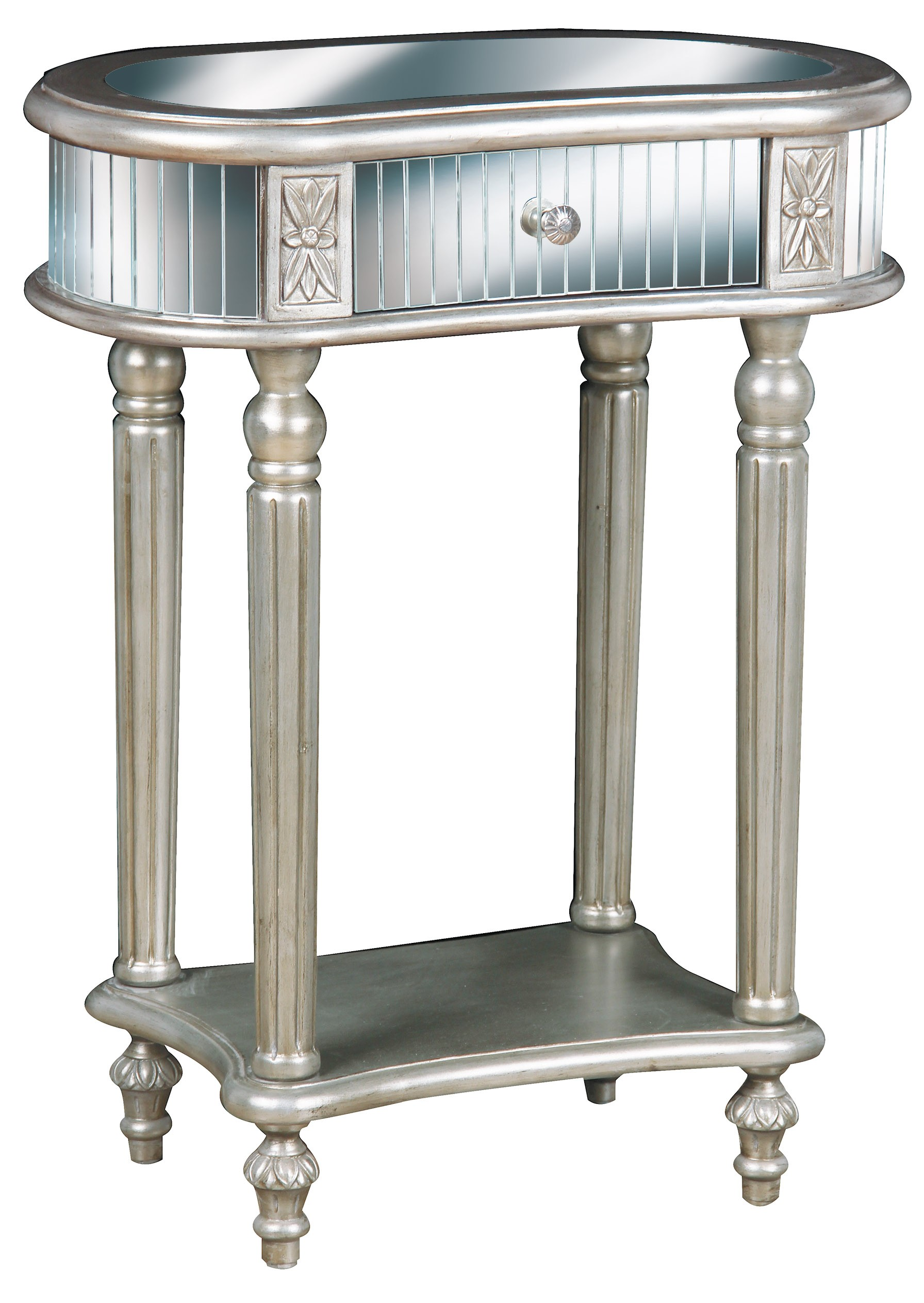 small mirrored accent table with drawer and shelves plus pedestal mirage threshold folding snack pet grooming tall grey lamps meyda tiffany ceiling light inch legs chandelier