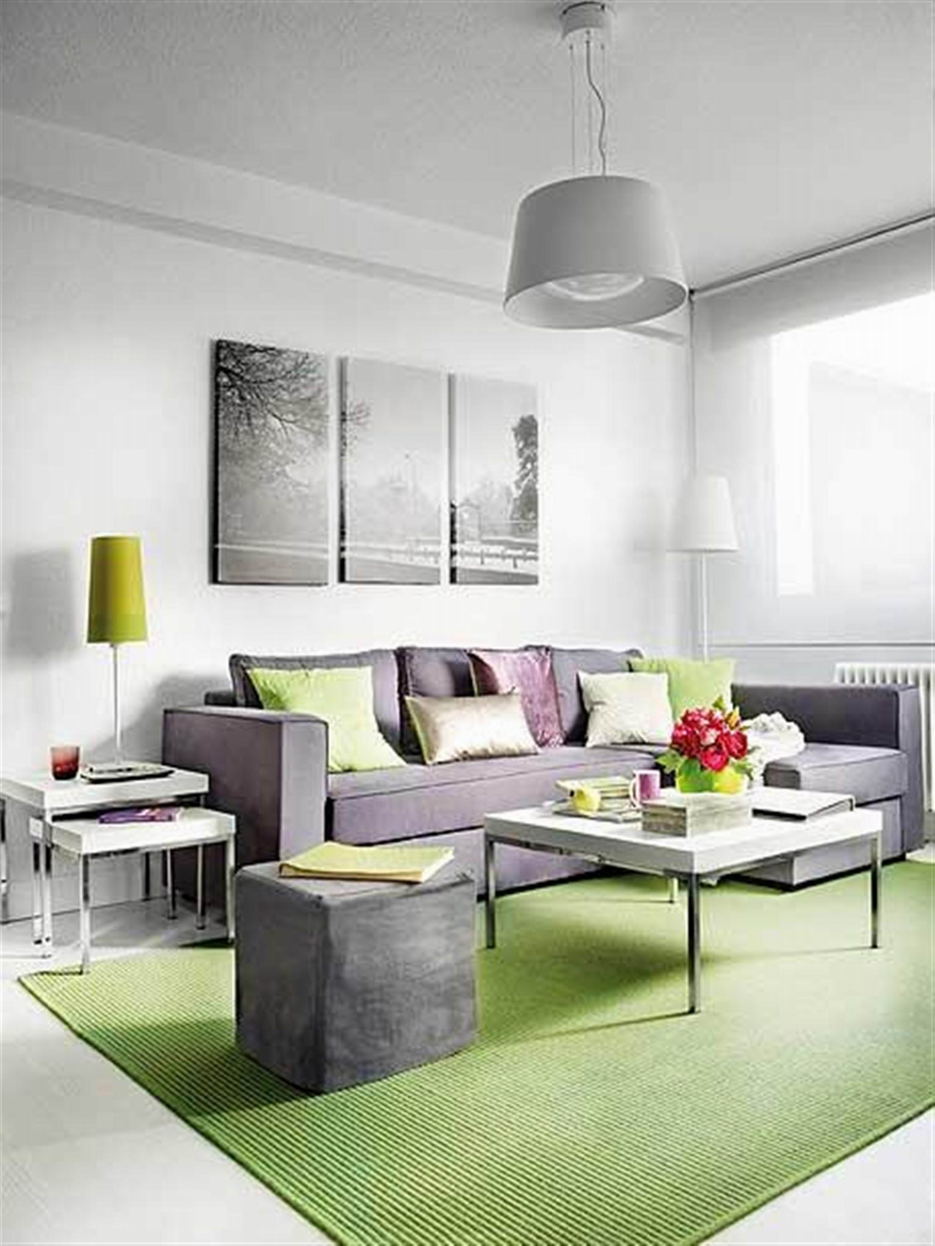 small nature color theme modern simple living room with lime green accent design decorating grey pendant light stylish side table pouffe corner sofa rug wheels spring haven patio