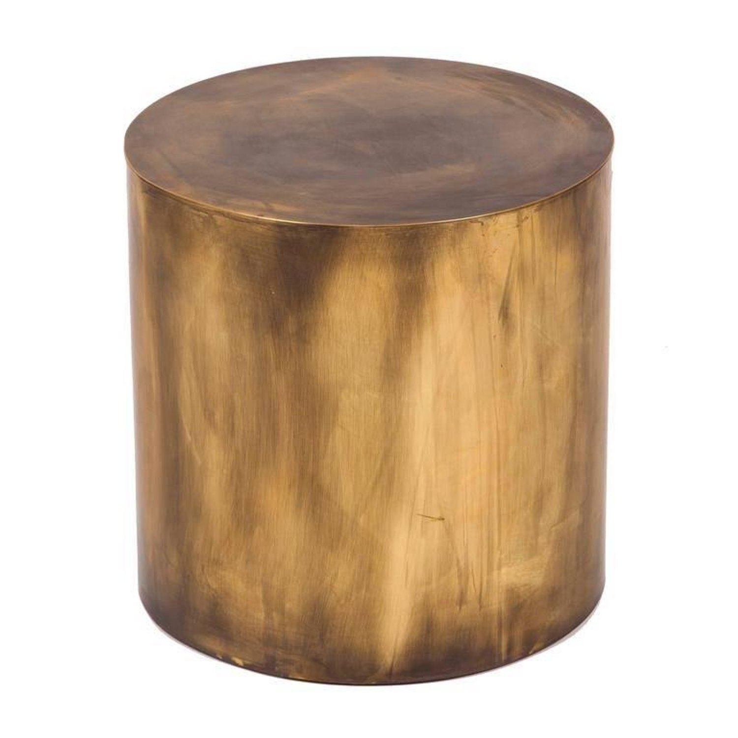 small polished brass pebble drum side table for master end tables wood living room couches large butcher block cutting board drawer accent very sofas quality sofa brands oval