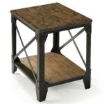 small rectangular end table with rustic iron legs magnussen home products color pinebrook accent long narrow bronze and glass side grey round tablecloth target project outdoor 150x150