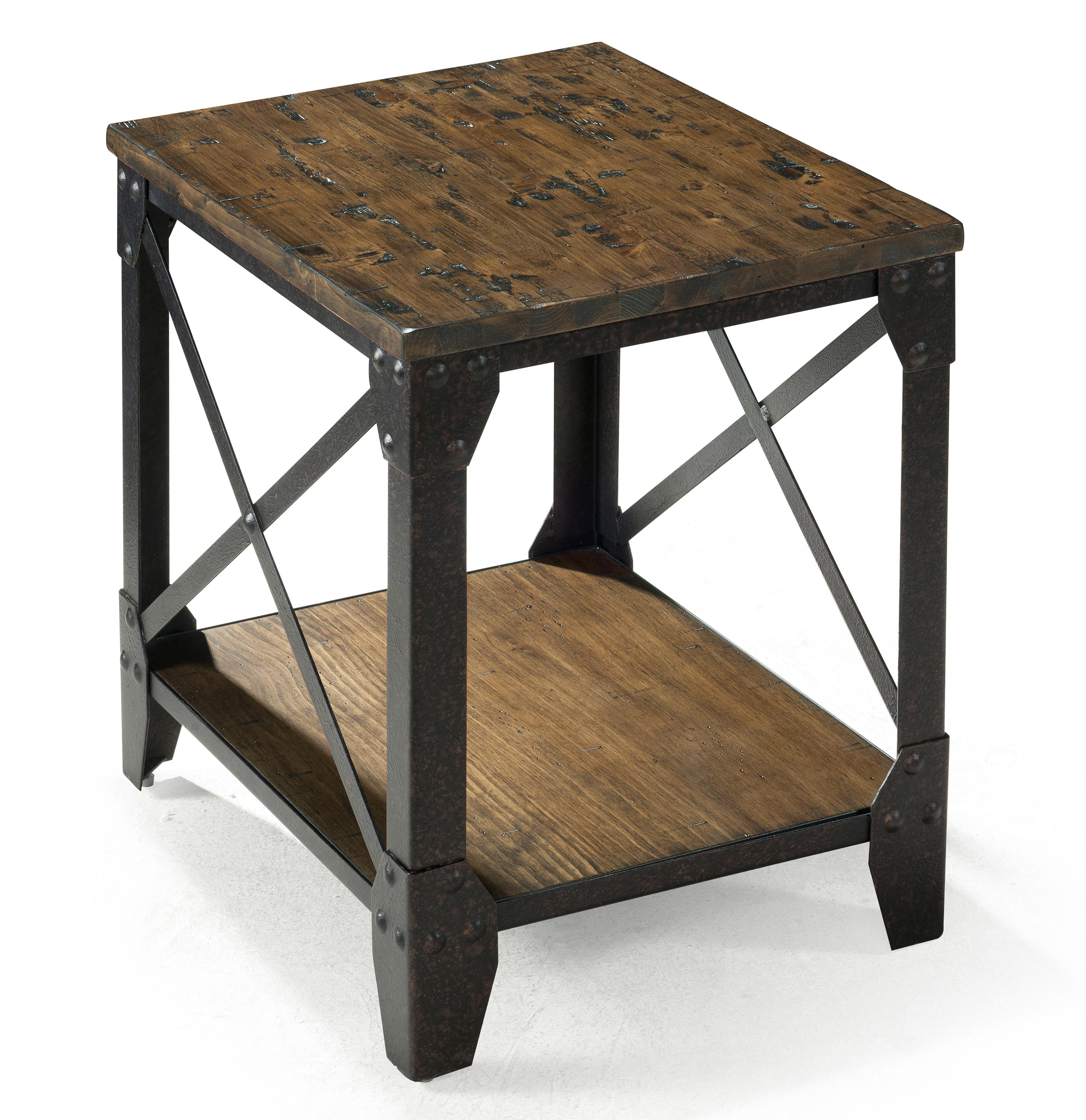 small rectangular end table with rustic iron legs magnussen home products color pinebrook accent tables toronto battery powered dining lamp circular patio furniture three coffee