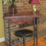 small red paint barn wood rustic industrial breakfast bar desk accent table apartment dorm size made from gander mountain closeout signage and old drum set seat metal glass 150x150
