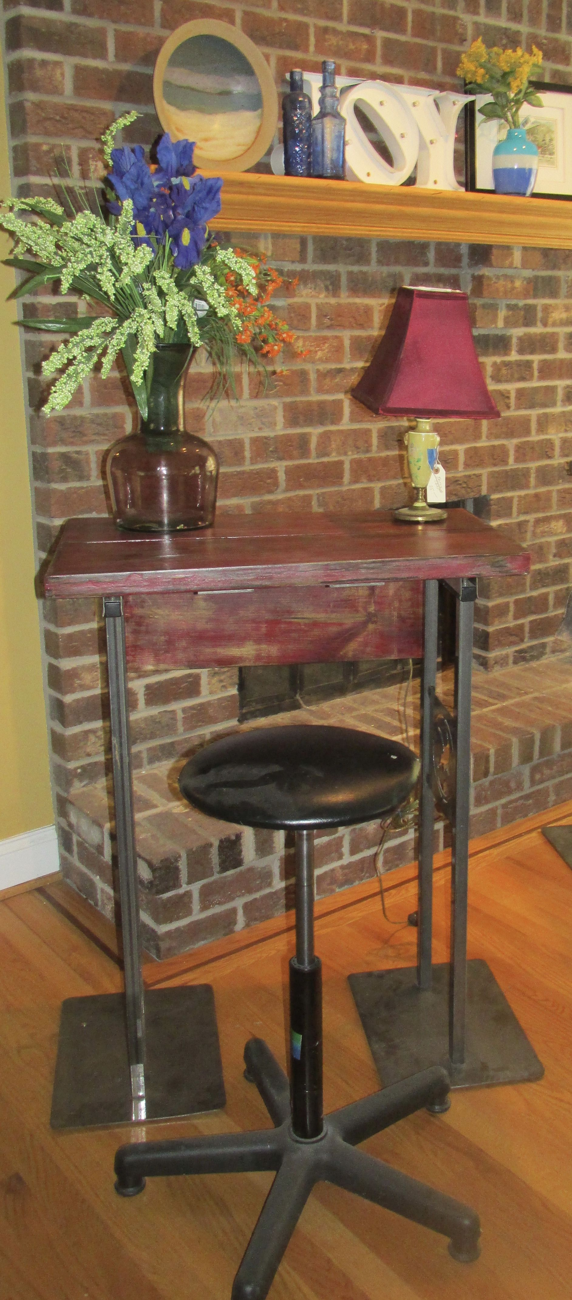 small red paint barn wood rustic industrial breakfast bar desk accent table apartment dorm size made from gander mountain closeout signage and old drum set seat metal glass
