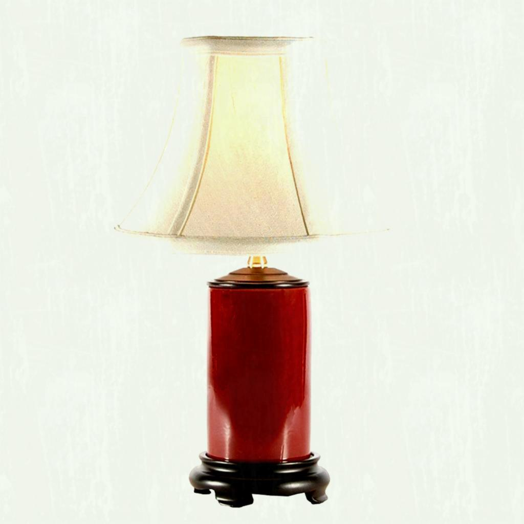 small red porcelain accent table lamp lamps antique ikea shades phone sofa with matching end tables leather living room chair weathered grey target drawers glass pottery barn side