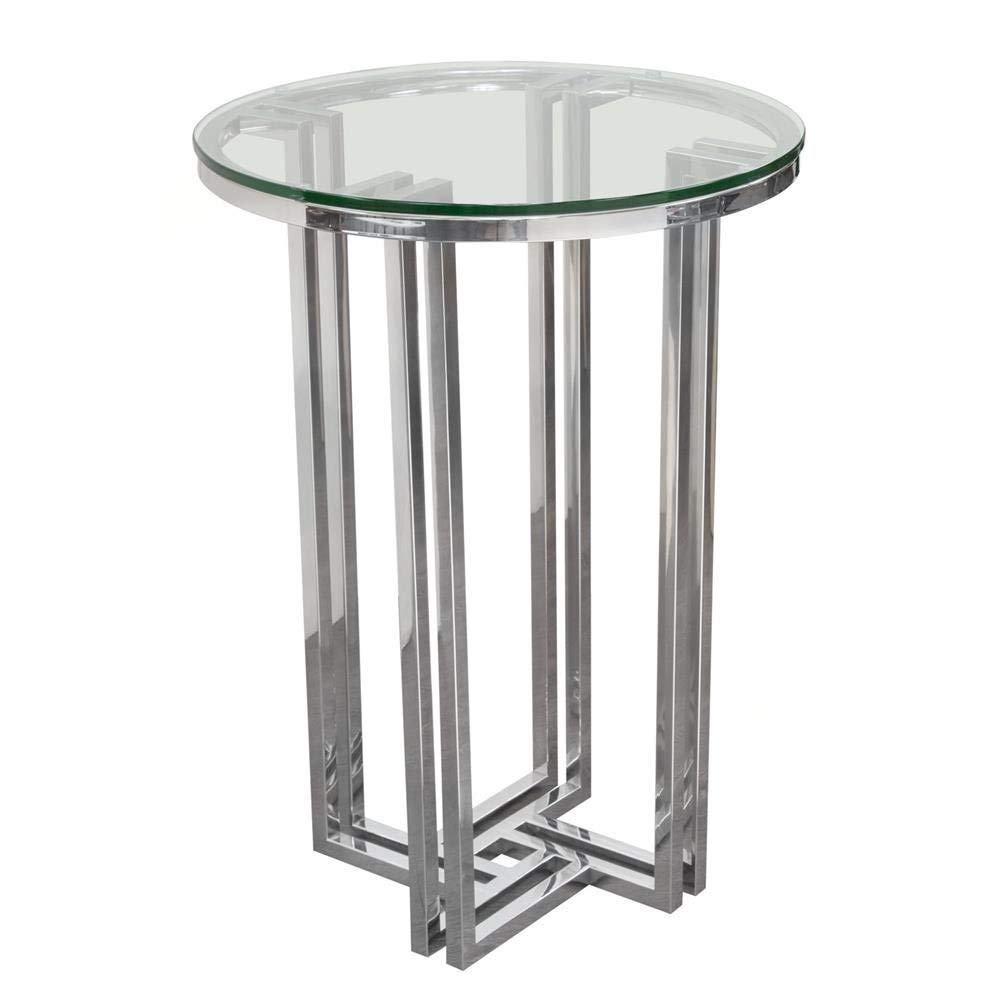 small round accent table find pedestal get quotations dsfurniture decker polished stainless steel with tempered glass top cream lamp concrete look big lots pub faux marble end