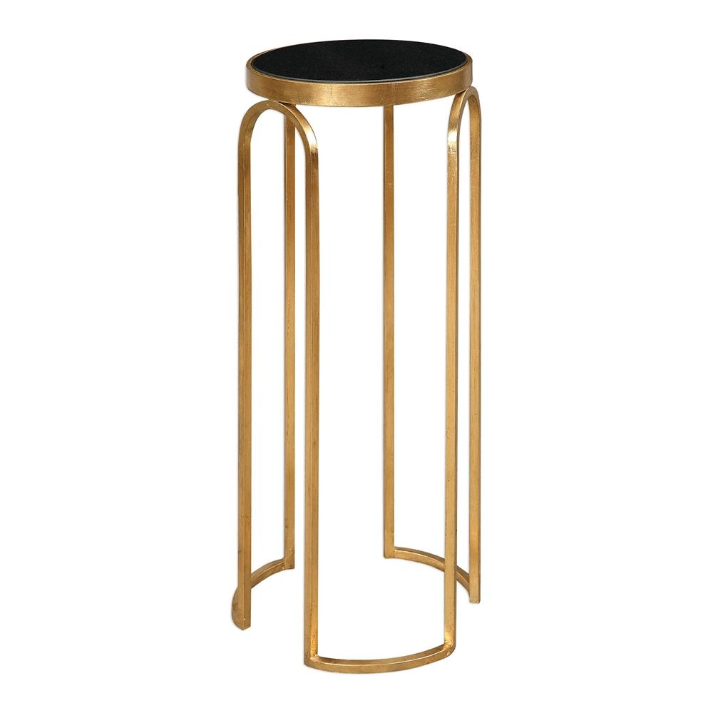 small round iron and marble accent table gold leaf white plastic patio side kitchen tables for spaces hampton bay chaise lounge cushions aluminium threshold strip clearance double