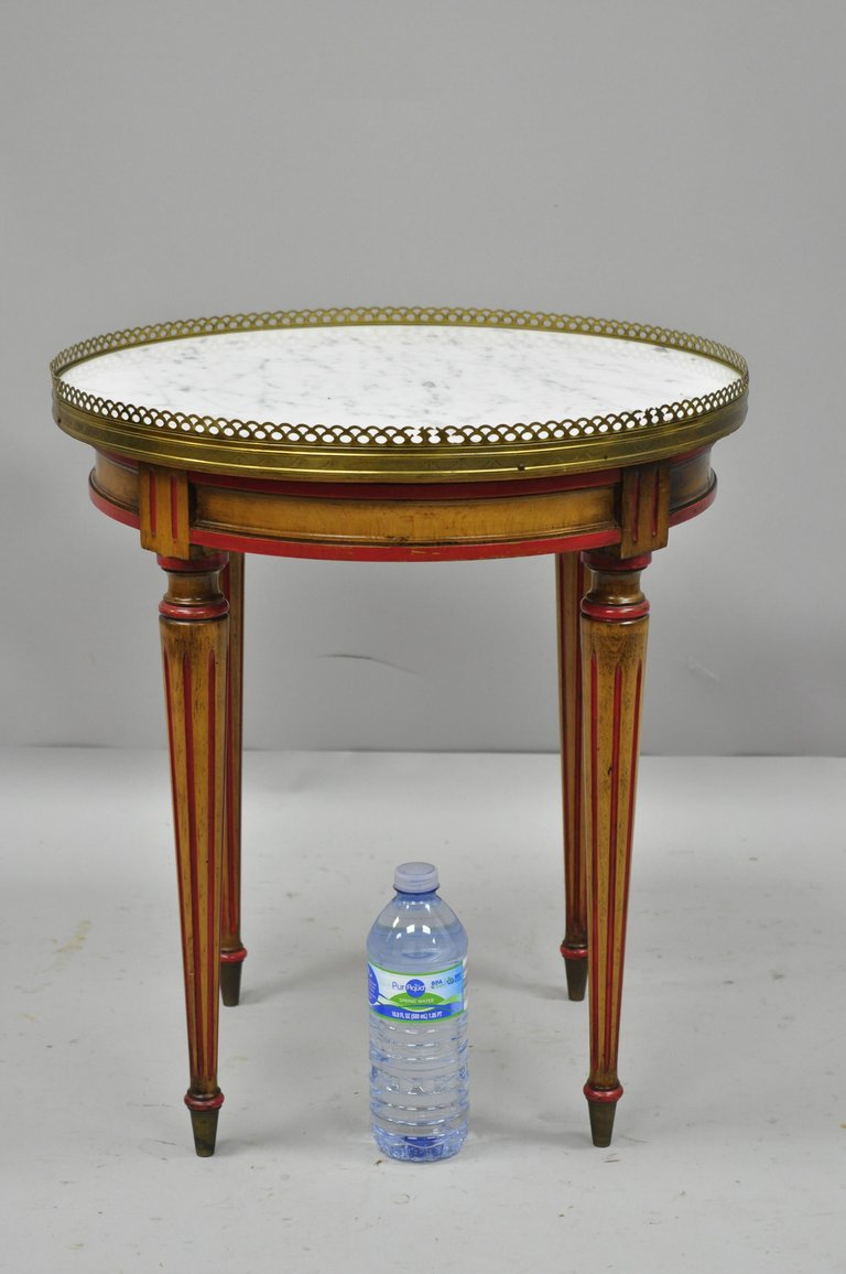 small round marble top french louis xvi directoire style italian master accent table side item dark cherry aluminum patio furniture half circle glass night stand affordable